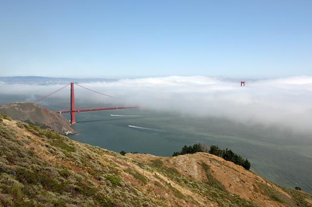 Golden Gate Bridge with fog rolling in