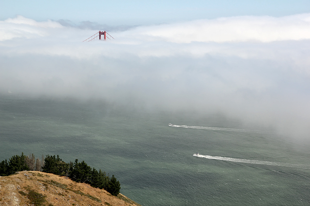 Golden Gate Bridge, south tower in fog long shot