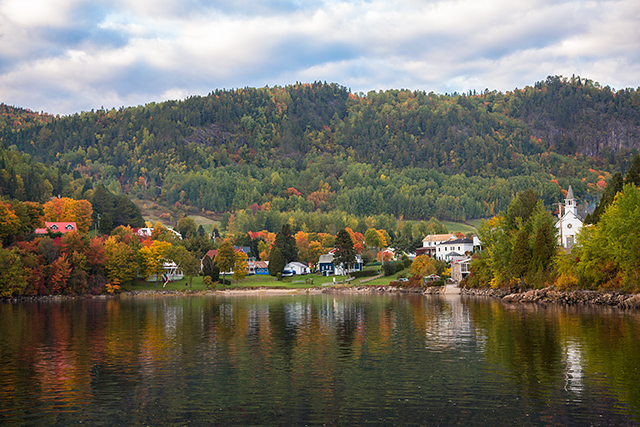 A perfect fall day in Sainte-Rose-du-Nord, Quebec--fall color, village reflections