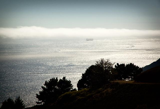 Tanker heading towards the Golden Gate