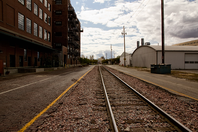Train track perspective in Cedar Rapids