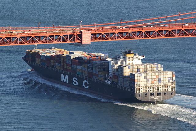 Giant freighter passing under the Golden Gate