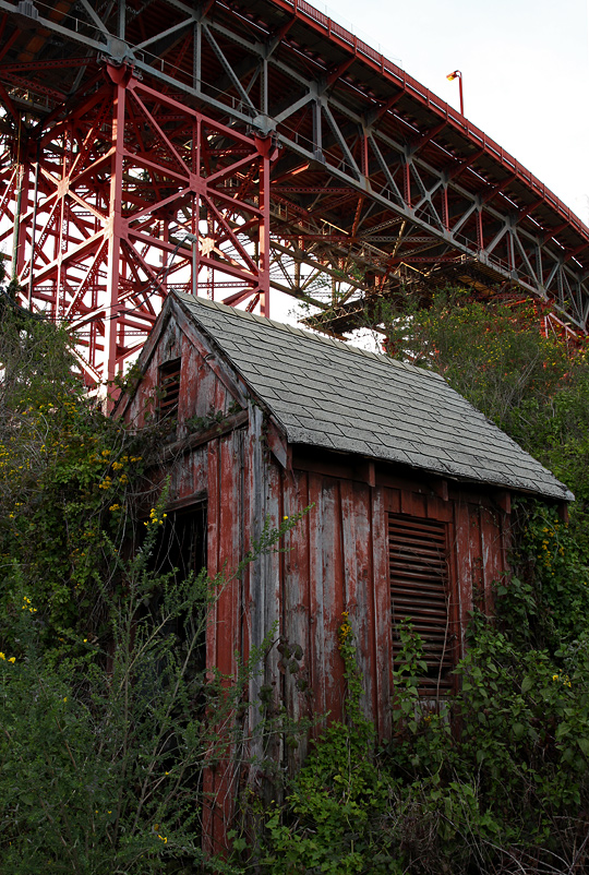 Shack beneath the Golden Gate Bridge