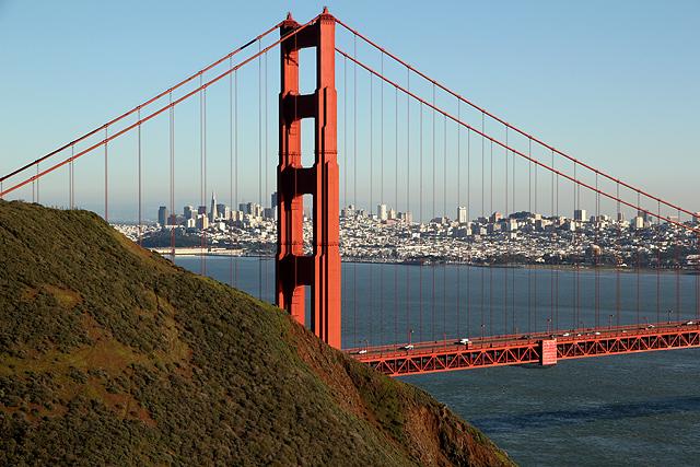Marin Headlands Golden Gate city through north tower