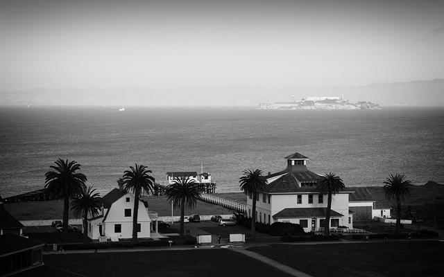 Hazy view of Alcatraz from Chrissy Field