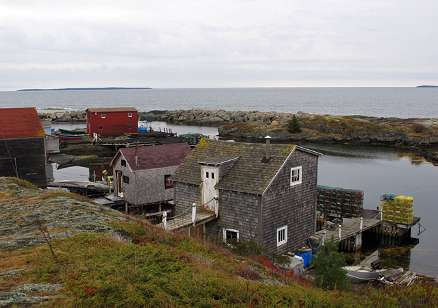 Lobster houses in cove near Lunenburg