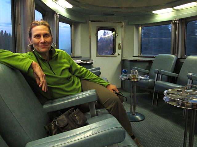 Maggie in the lounge car